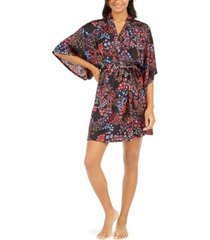 josie women's floral-print satin wrap robe