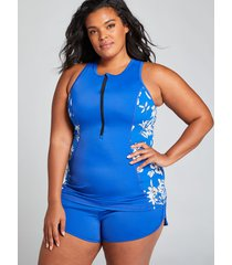 lane bryant women's fitted no-wire high-neck swim tankini top 26 floral surf