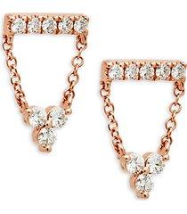 14k rose gold & diamond chain drop earrings
