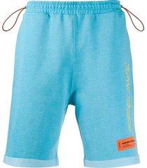 heron preston fleece embroidered track shorts - blue