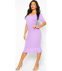 jumbo rib peplum hem midi dress, lilac grey