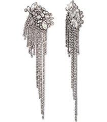 givenchy hematite-tone crystal fringe drop earrings