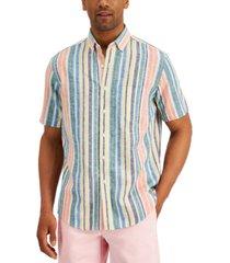club room men's stripe linen-blend short sleeve shirt, created for macy's