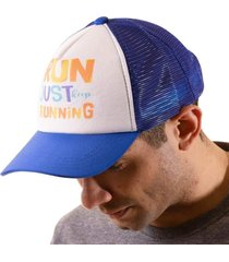 boné trucker corrida estampado snapback azul e branco -  run just keep running azul
