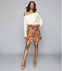 reiss abigail - printed mini skirt in rust, womens, size 12
