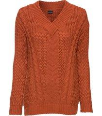 maglione con scollo a v (marrone) - bodyflirt