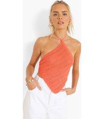 gebreide bandana top met halter neck, tangerine