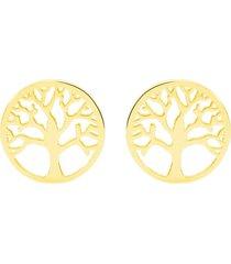 orecchini a lobo in oro giallo con simbolo albero della vita per donna