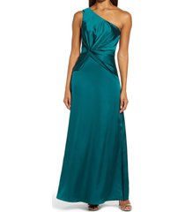 chi chi london one-shoulder satin dress, size 6 in green at nordstrom