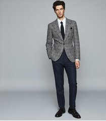 reiss aston - checked single breasted blazer in grey, mens, size 48