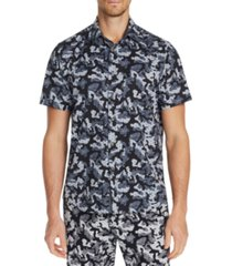 tallia men's slim-fit performance stretch camo floral short sleeve shirt