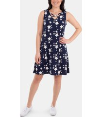 ny collection lattice-neck star-print dress