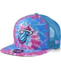 new era miami heat tie dye mesh back cap