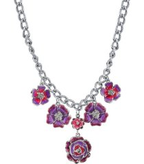 """2028 silver-tone purple and pink enamel flower necklace 16"""" adjustable"""