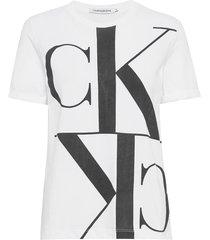 mirrored monogram straight tee t-shirts & tops short-sleeved vit calvin klein jeans