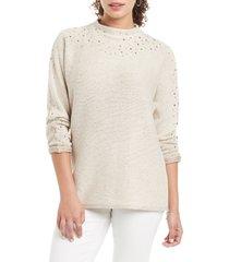 petite women's nic + zoe shine for me sweater, size xx-large - ivory
