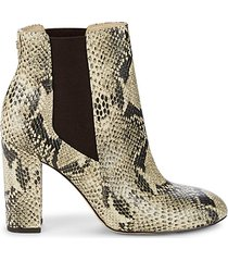 case snakeskin-printed heeled booties