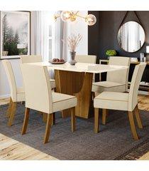 mesa de jantar 6 lugares paula nature/off white/linho - bci móveis