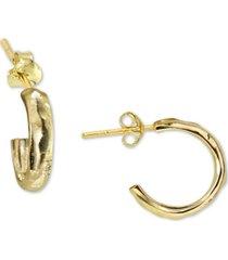 argento vivo chunky hammered huggie hoop earrings in sterling silver
