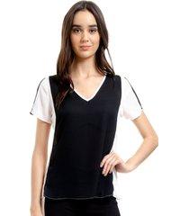 blusa 101 resort wear tunica decote v crepe bicolor preto off