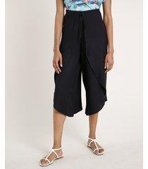 calça feminina pantacourt com transpasse e nó preta