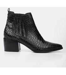 botines tacón de cuero para mujer textura serpiente