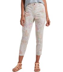 hue women's floral-print ultra soft denim high-waist capri leggings