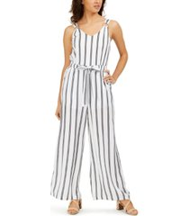 rosie harlow juniors' striped wide-leg jumpsuit