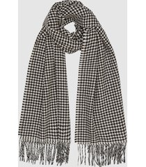 reiss renata - houndstooth wool scarf in monochrome, womens