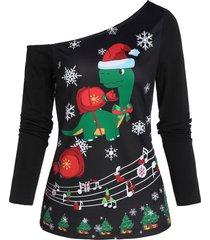 christmas snowflake print skew collar sweatshirt