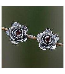 garnet flower earrings, 'camellia' (indonesia)