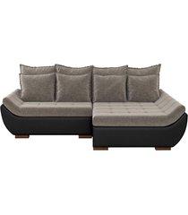 sofã¡ com chaise direita 5 lugares sala de estar 312cm inglãªs linho marrom/corino preto - gran belo - preto - dafiti