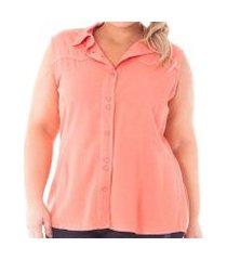 camisa confidencial extra plus size regata de sarja com botões feminina