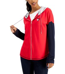 tommy hilfiger colorblocked zip-front hoodie