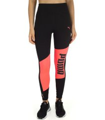calça legging puma logo graphic tight - feminina - preto/rosa