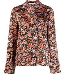 derek lam 10 crosby long sleeve paisley print pajama shirt - black