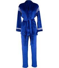 pyjama's / nachthemden lisca blue royal wish velvet pyjama interior set