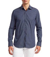 saks fifth avenue men's collection floral print shirt - blue pink - size m