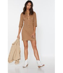 womens the string theory lace-up shirt dress - stone