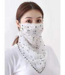 heart print chiffon riding face mask scarf
