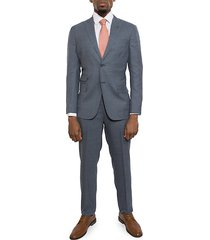 slim-fit textured wool suit
