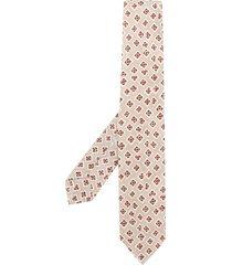 barba geometric print tie - neutrals