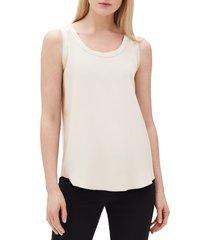 women's lafayette 148 new york perla reversible silk blouse, size xx-large - white