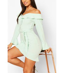 off the shoulder ruffle tie waist skater dress, mint