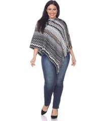 white mark plus size mesila fringe poncho