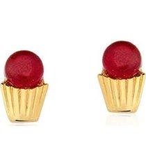 brinco toque de joia cupcake jade vermelha dourado - kanui