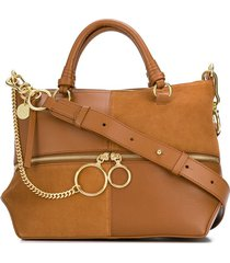 see by chloé patchwork tote - brown