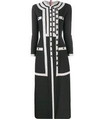 thom browne seersucker slit-detail dress - black