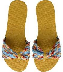women's havaianas you st. tropez mesh sandal, size 5 m - yellow