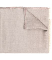 brunello cucinelli lightweight frayed-edge scarf - grey